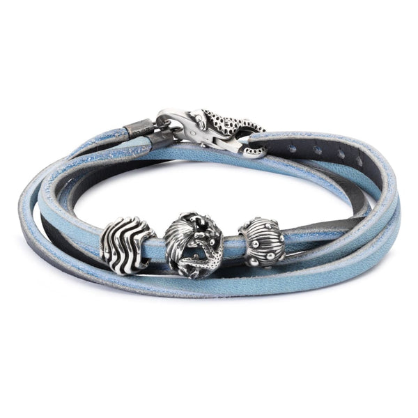 Leather Bracelet Light Blue/Dark Grey - Bracelet