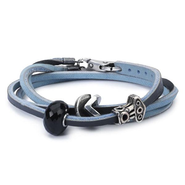 Leather Bracelet Light Blue/Dark Grey with Black Onyx and