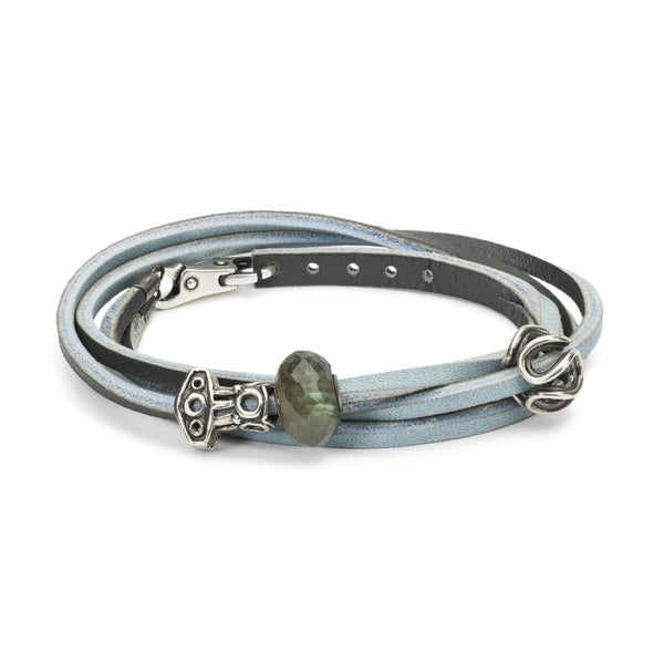 Leather Bracelet Light Blue/Dark Grey with Gemstones and