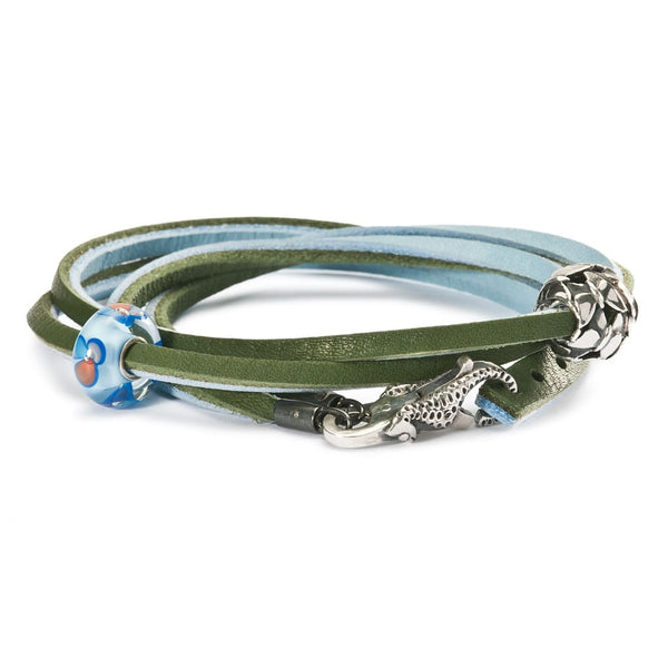 Leather Bracelet Light Blue/Green - Bracelet