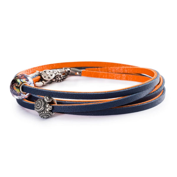 Leather Bracelet Orange/Navy - Bracelet