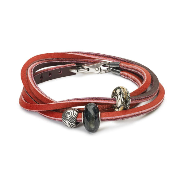 Leather Bracelet Red/Bordeaux with Gemstones and Sterling