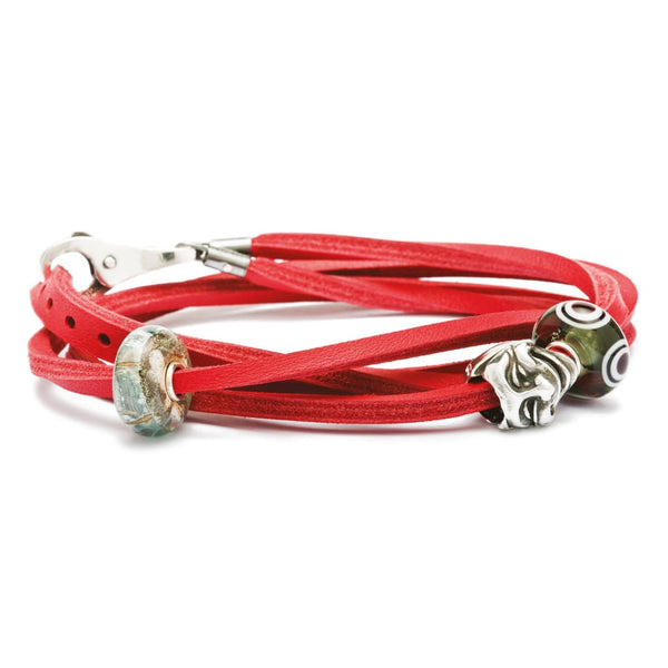Leather Bracelet Red/Silver - Bracelet