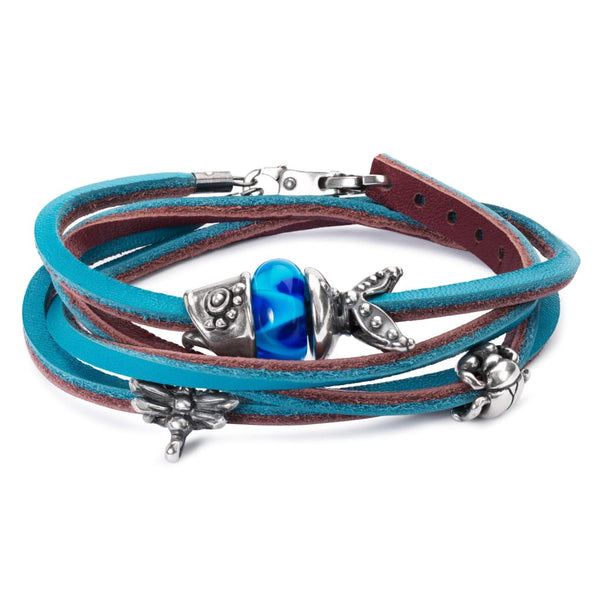 Leather Bracelet Turquoise/Plum - Bracelet