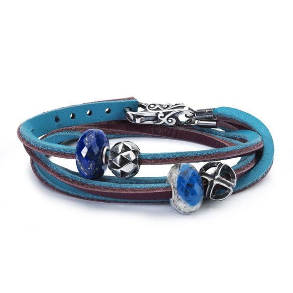Leather Bracelet Turquoise/Plum with Gemstones and Sterling