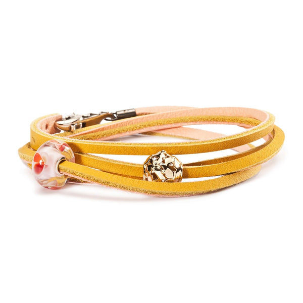 Leather Bracelet Yellow/Light Pink - Bracelet