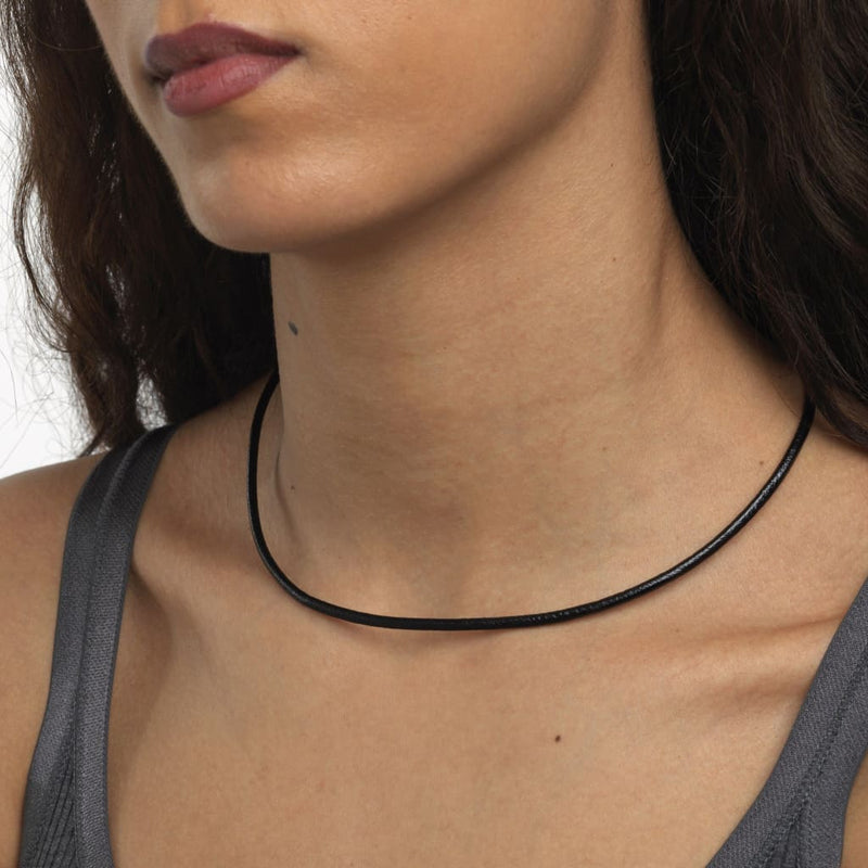 Leather Necklace Black - Necklace