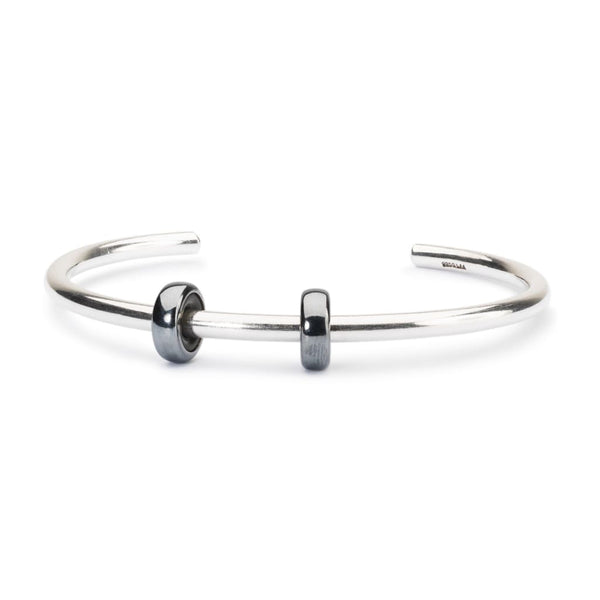 Sterling Silver Bangle with 2 x Oxidized Spacers - BOM