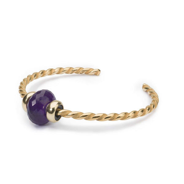 Twisted Gold Bangle with Amethyst - BOM Bangle