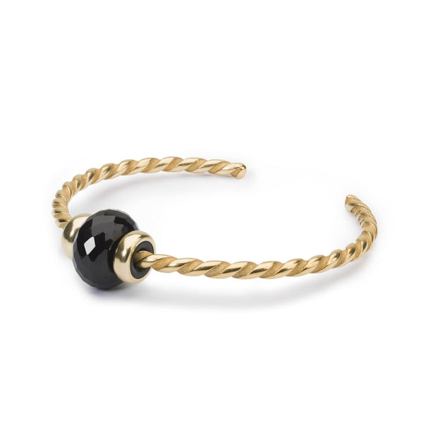 Twisted Gold Bangle with Black Onyx - BOM Bangle