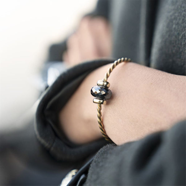 Twisted Gold Bangle with Steel Hematite - BOM Bangle
