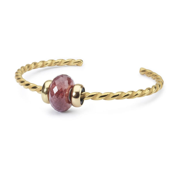 Twisted Gold Bangle with Strawberry Quartz - BOM Bangle