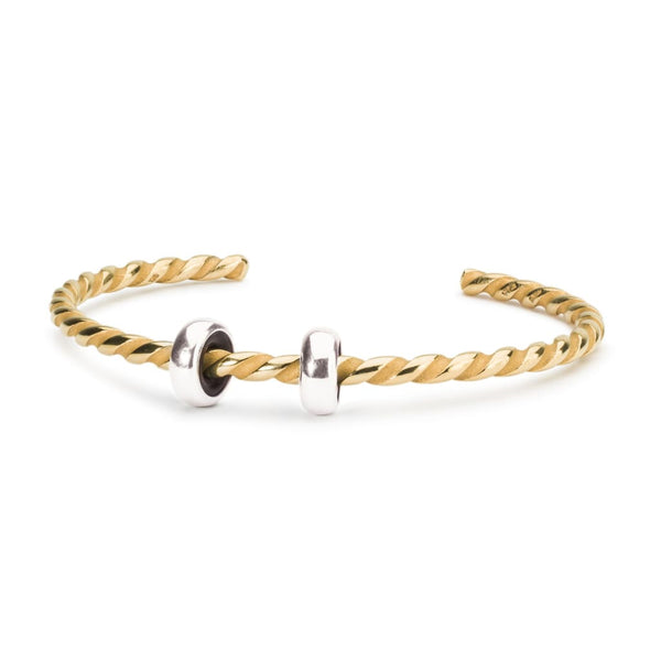 Twisted Gold Plated Bangle with 2 x Silver Spacers - BOM