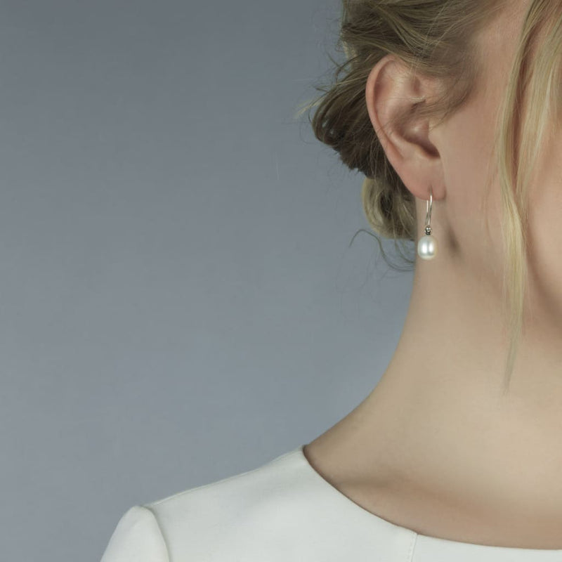 White Pearl Oval Drops with Silver Hooks - BOM Earring