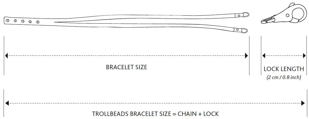 Double leather bracelet size illustration - chain and lock.