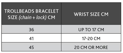 Double leather bracelet size chart in cms.