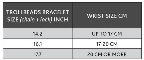 Double leather bracelet size chart in cms - chain and lock.