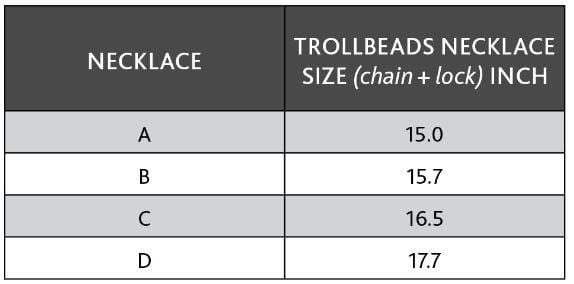 Foxtail necklace size chart for extra models in inches.