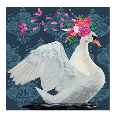 Blue Swan Canvas Wall Art