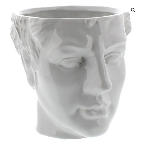 Apollo Ceramic Head Cachepot - White