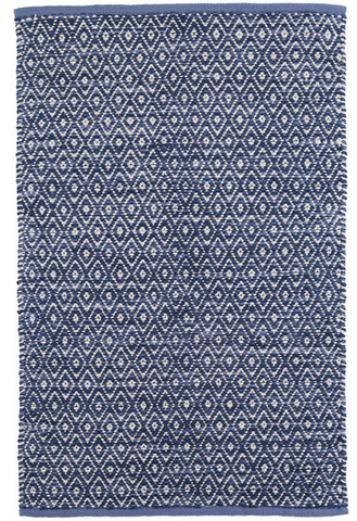 Dash & Albert | DIAMOND CHENILLE BLUE WOVEN COTTON RUG | 2 x 3