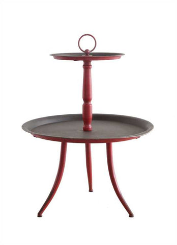 Decorative Metal 2-Tier Stand, Red