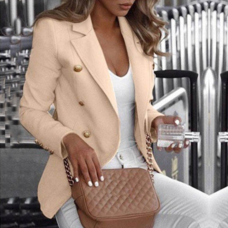 Button Ladies Blazer Woman  Work Suit
