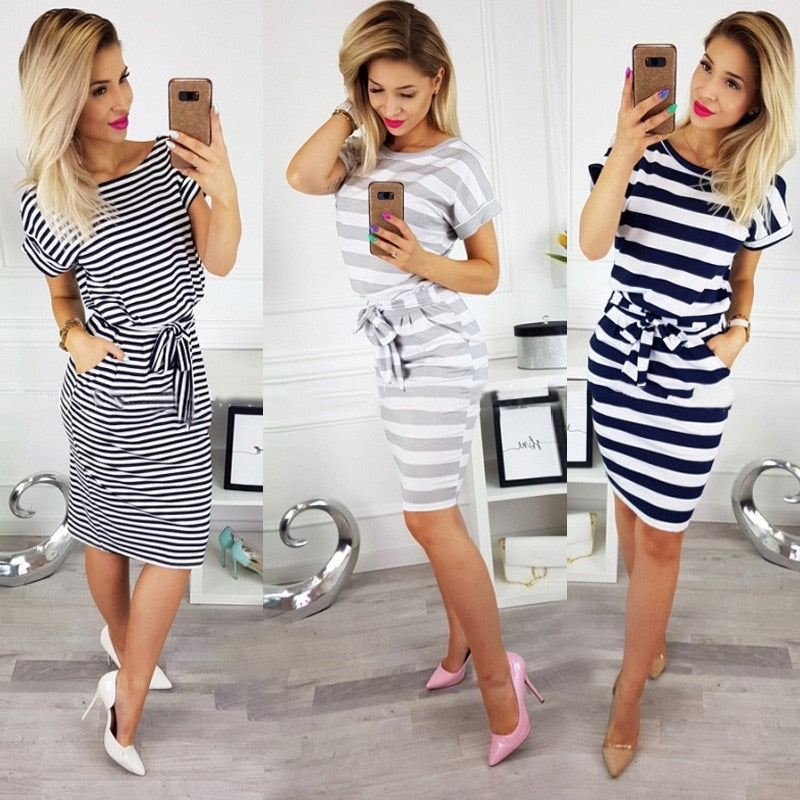 O-Neck Striped Plus Size Slim Bodycon Dress