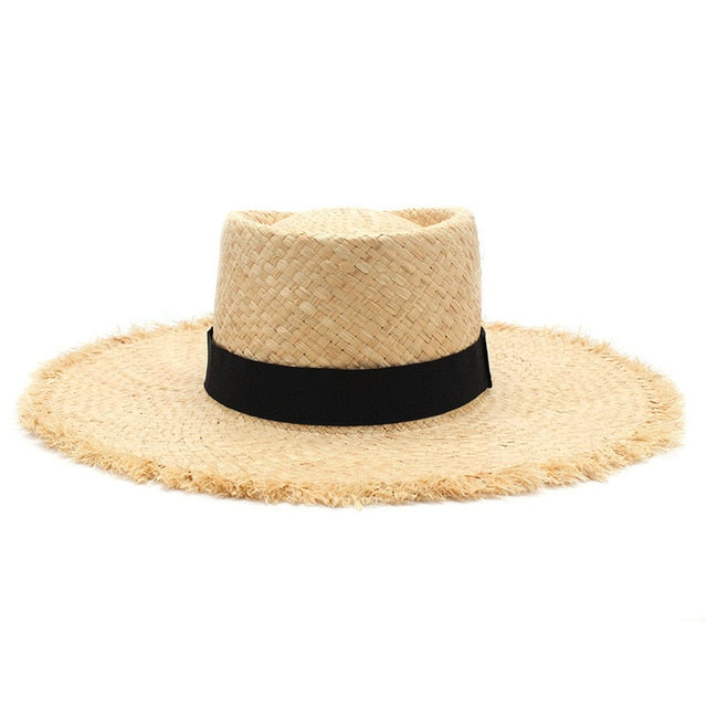 New Belt Raffia Straw Summer Sun Visor Hat