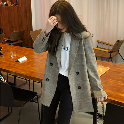 Office Ladies Notched Collar Plaid Women Blazer