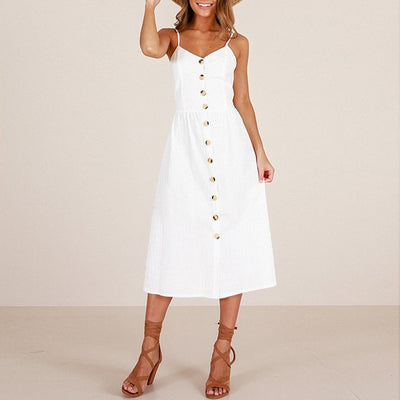 Vintage Casual Sundress Female Beach Dress