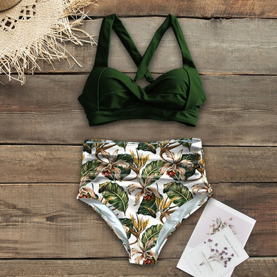 High Waist Halter Plus Size Swimwear
