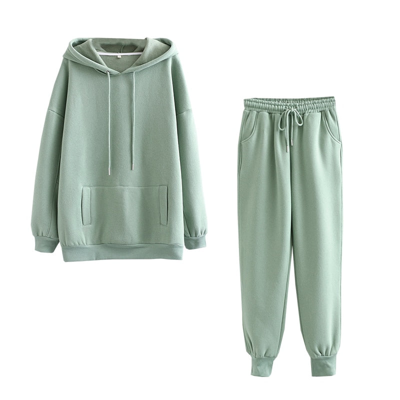 Autumn Winter Women thick fleece 100% cotton suit 2 pieces set