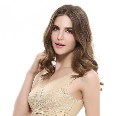Cross Side Buckle Wireless Push up Bra