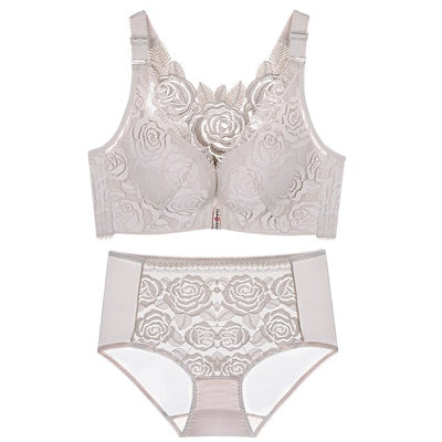 Large size front buckle rose underwear set