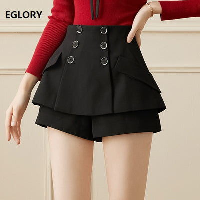 High Quality Women Double Layer  Shorts Red Black