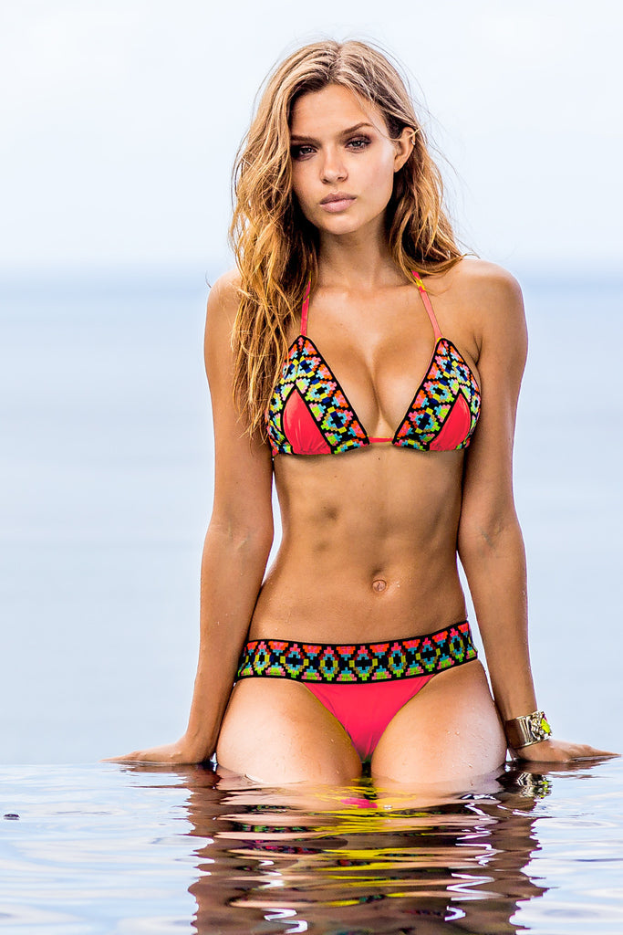 Sauvage Tribal Bikini Set - Coral