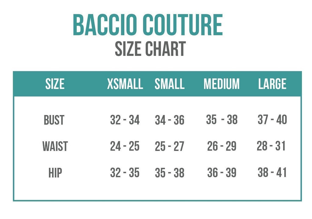Baccio Couture Sizing Chart