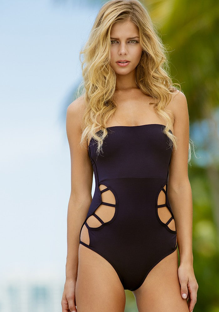 Black Bandeau One Piece Swimwear