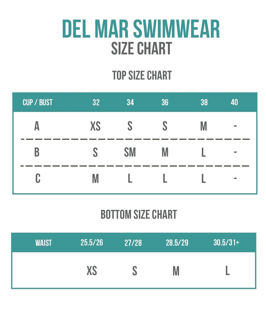 Del Mar Swimwear Sizing Chart