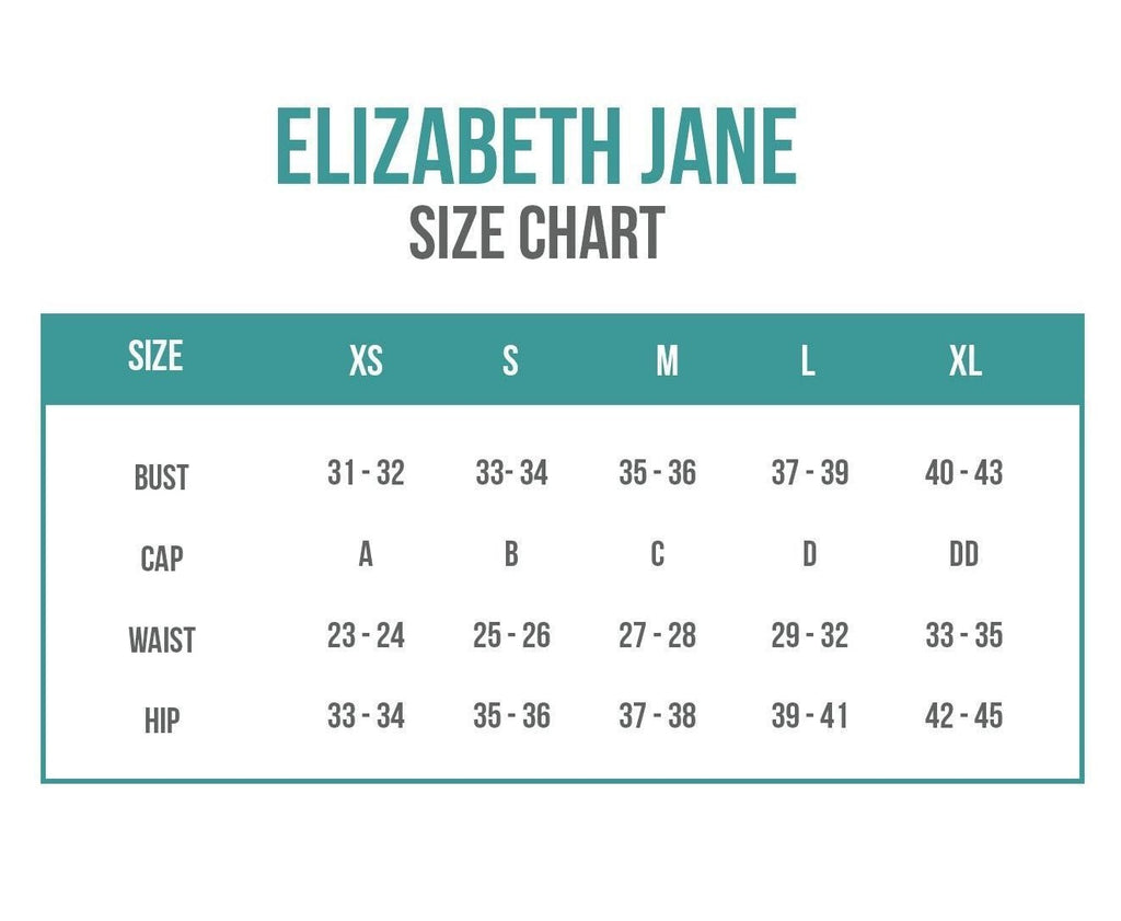 Elizabeth Jane Swim Sizing Chart
