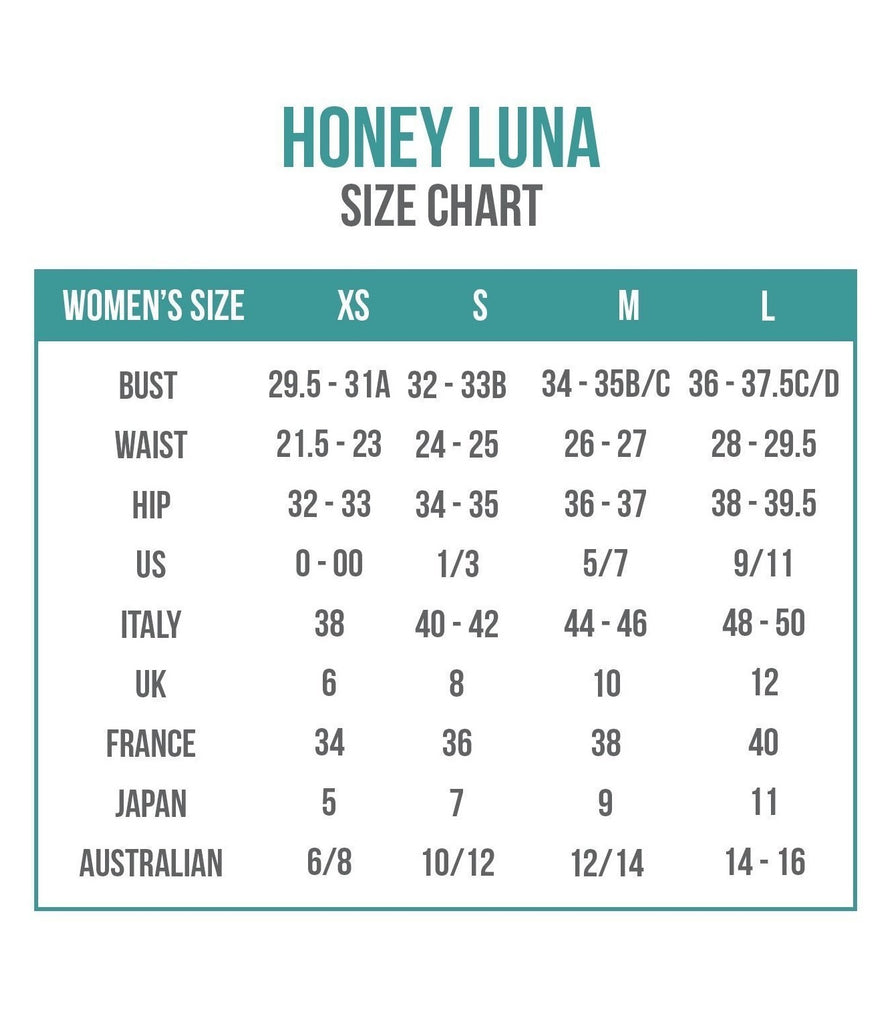 Honey + Luna Swimwear Size Chart