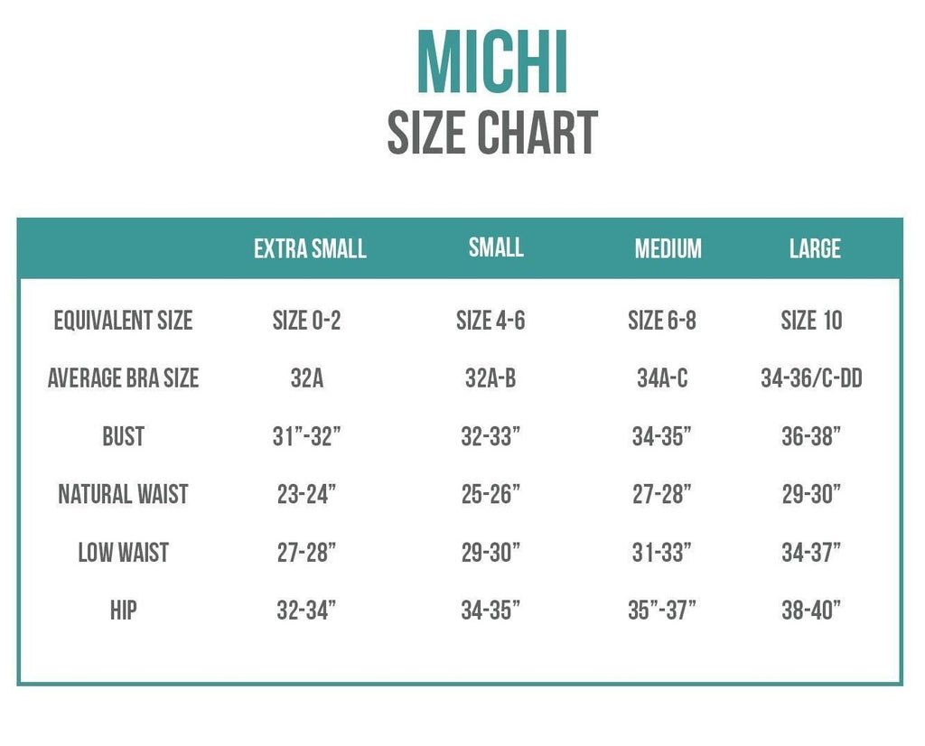 Michi Activewear Sizing Chart