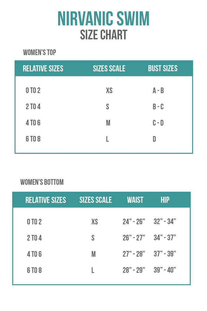 Nirvanic Swim Sizing Chart