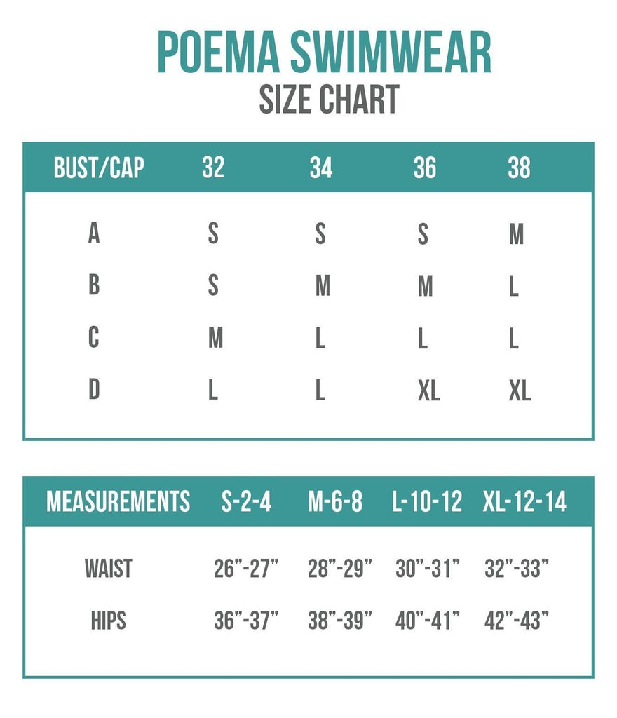 Poema Swimwear Sizing Chart