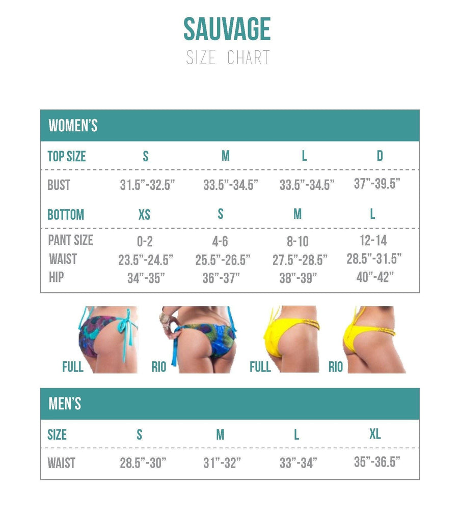 Sauvage Swimwear Sizing Chart