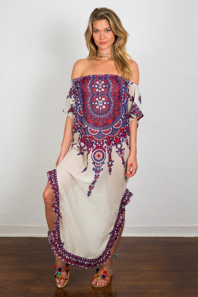 off the shoulder caftan