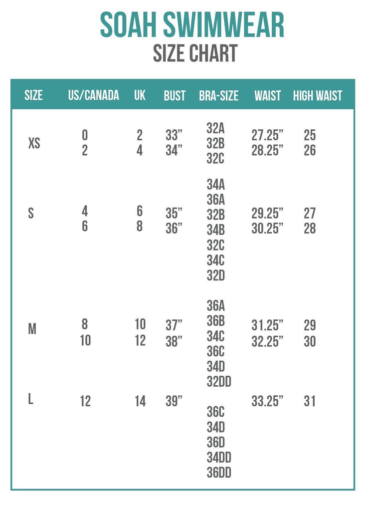 0fd8a24bd Size Charts - Bikini Sizing Information and Helpful Guide
