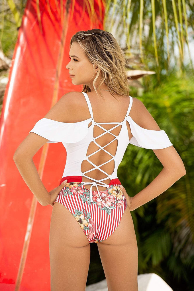 white striped one piece swimwear