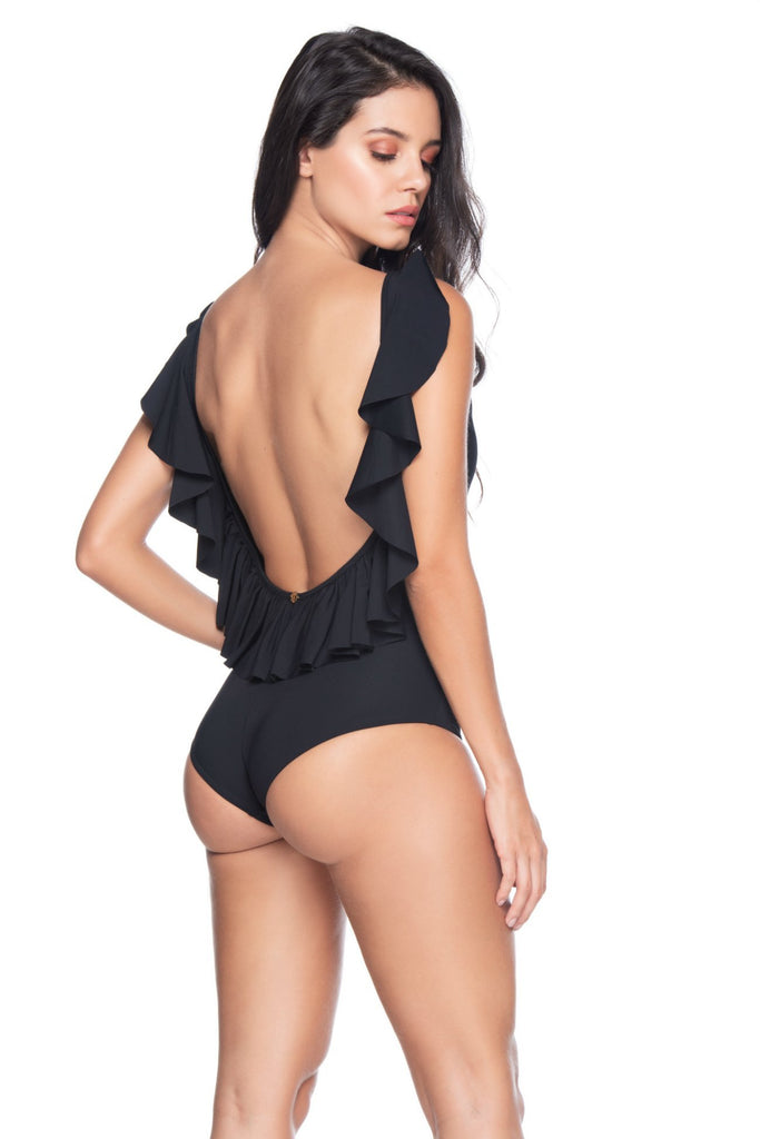 Ruffled Black One Piece